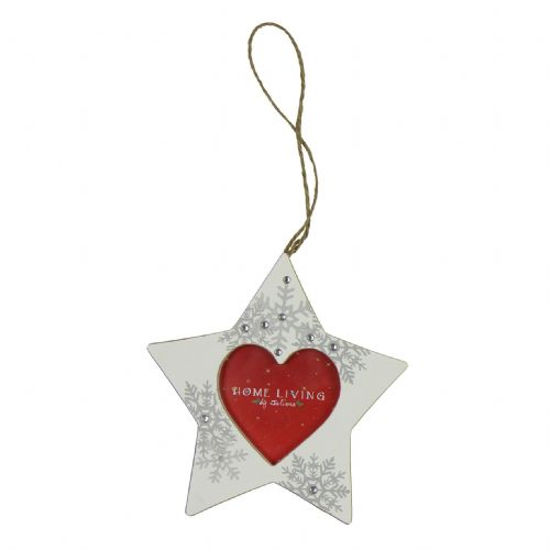Christmas Tree Decoration - White Wooden Star Shaped Photo Frame Keepsake For Christmas